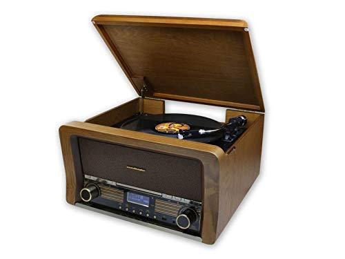 Soundmaster NR50 Retro Stereoanlage mit DAB+ UKW CD-MP3 USB Bluetooth Plattenspieler (33/45/78 UpM) Audio Technica Magnet-Tonabnehmersystem