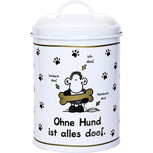 Sheepworld 45710 Metall-Dose Ohne Hund ist alles doof, 130 cl, Leckerli-Dose, schwarz-weiß