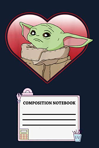 Star Wars The Mandalorian The Child Valentine Heart Portrait U7 Notebook: 120 Wide Lined Pages - 6' x 9' - College Ruled Journal Book, Planner, Diary for Women, Men, Teens, and Children