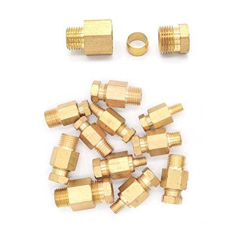 Compression Ferrule Tube Compression Fitting 4mm OD Tube Connector, for DIY Machine Tool Lubrication Brass Oil Pipe Fitting Adapter (Size : M6 x 1)