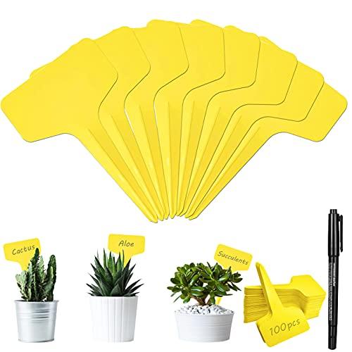 100Pcs Etiquetas de Plantas Plásticas con Rotulador, Marcadores de en Forma de T Marcadores de Jardín Duraderas Etiquetas para Interior y Exterior Semillas Hierbas Flores Vegetales (amarilla)
