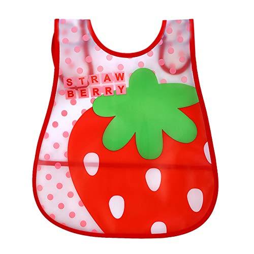 Riou Baby Lätzchen Silikon Wasserdicht Abwaschbar ohne ärmel mit Klettverschluss Cartoon Schöne Babylätzchen für Jungen und Mädchen 1-4 Jahre (A-Rot)