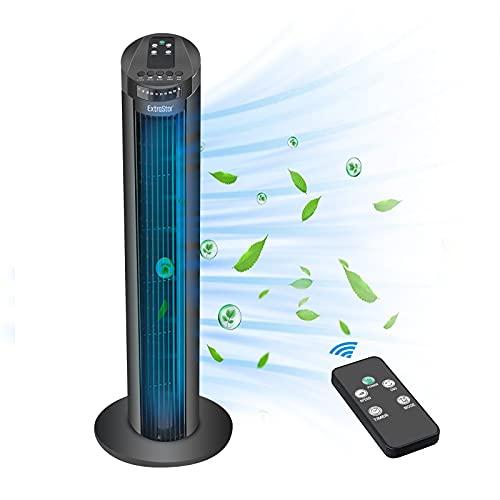 EXTRASTAR Ventilador de torre de 50 W con mando a distancia, temporizador de 7,5 horas, ventilador silencioso de columna oscilación de 70°, 3 velocidades, modo de 74 cm, para casa o oficina