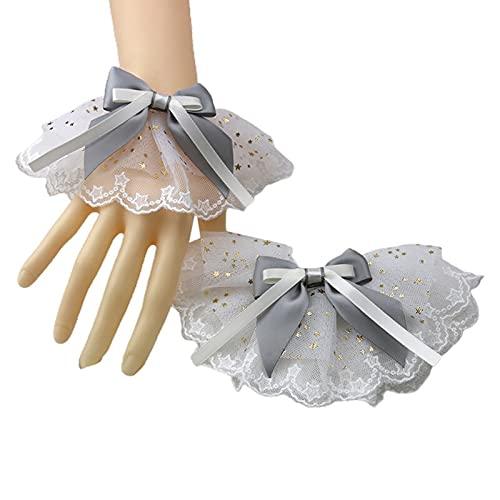 yuese Lolita - Brazalete de encaje con lentejuelas y lazos, diseño de estrella de encaje con volantes (color : GY)