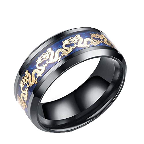 8 mm Stainless Steel Blue Double Dragon Ring Men Wedding Band Jewelry Gifts Rings Punk Biker Accessories Black 8