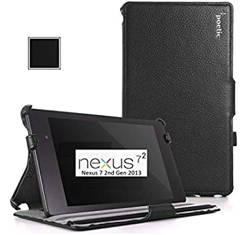 Google Nexus 7 2013 Case - Poetic Google Nexus 7 2013 Case [StrapBack Series] - [PU Leather] [View Stand] Protective Cover Case for Google Nexus 7 2nd Gen 2013 Black  3 Year Manufacturer Warranty From Poetic