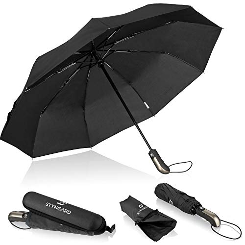 STYNGARD Regenschirm sturmfest bis 140 km/h - Automatik inkl. Schirm-Tasche & Reise-Etui I Taschenschirm mit Auf-Zu-Automatik, Klein & Leicht mit Teflon-Beschichtung (schwarz & blau)… (Schwarz)