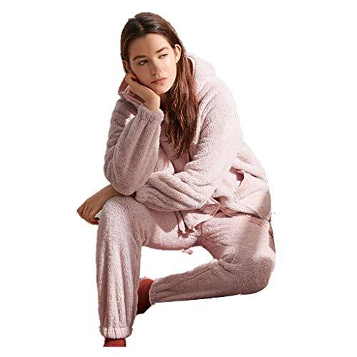 LLSS Ropa de Dormir y Batas Pijamas Otoño e Invierno Franela Ropa de hogar Cárdigan Grueso con Capucha Pantalón de Manga Larga Regalo