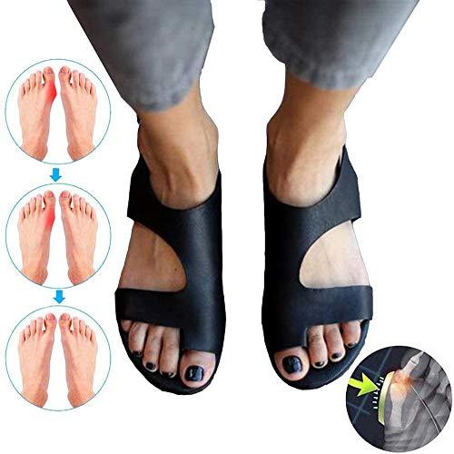 Vrouwen flats open teen sandalen orthopedische steunzool PU leer zachte orthopedische sandalen voor plantaire fasciitis strand slippers buiten teen post sandalen