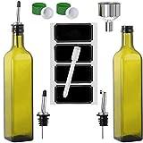 Olive Oil Dispenser Bottle - 2 Pack of 17 oz. Dark Glass Drizzler with...
