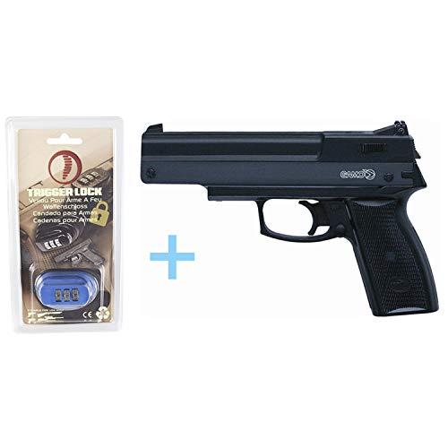 Gamo Pack Pistola de Aire Precomprimido AF-10 / Full Metal, Pistola de perdigones, Calibre 4.5 mm, Potencia de 3 Julios, Pistola de plomos + Candado de Seguridad Yatek. Pistolas 4,5.