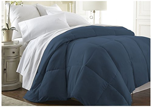 ienjoy Home Becky Cameron Baffle Box Alternative Goose Down Comforter, Twin/Twin X-Large, Navy by ienjoy Home