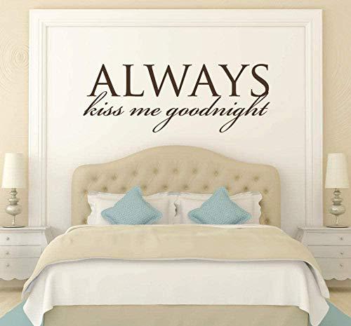 Muurstickers Art Decal Vinyl Murals Hoofdbord Kus me altijd Goodnight Verwijderbaar voor Slaapkamer Decor Home 110X42cm
