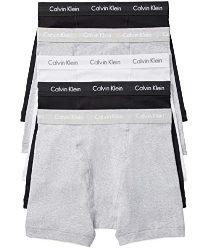 Calvin Klein Men's Cotton Classics Multipack Boxer Briefs, 2 black/2 Heather Grey/1 White, L