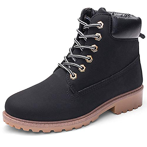 DADAWEN Women's Lace Up Low Heel Work Combat Boots Waterproof Ankle Bootie Black US Size 7
