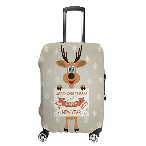 Chefong - Funda Protectora para Maleta de Viaje, diseño de Ciervo de Navidad sobre Fondo Gris con Copos de Nieve, 1 Funda Protectora