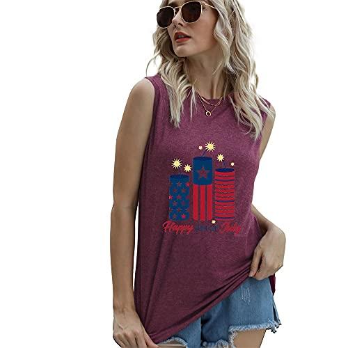 """Mayntop Camiseta de manga corta para mujer con diseño de bandera de Estados Unidos con texto en inglés """"God Bless"""" para el 4 de julio, C-vino, 46"""