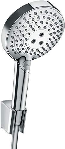 hansgrohe wassersparendes Duschsystem Raindance Select PowderRain Regendusche (Duschkopf, Schlauch, Halter, 3 Strahlarten) Chrom
