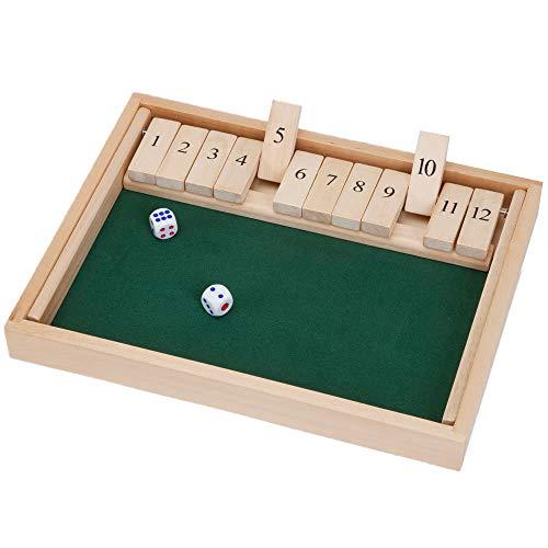 RETYLY H?Lzerne Shut The Box 12 WüRfel Spiel Brett, Holz Brett Spiel mit WüRfeln für das Klassenzimmer, Zuhause oder die Kneipe