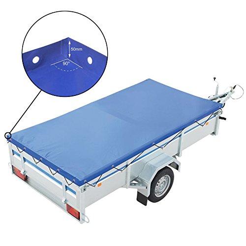 deiwo® Anhänger Flachplane Blau mit Gummigurt | 2 Größen zur Auswahl | passend für viele Kastenanhänger (2075x1140x50mm)