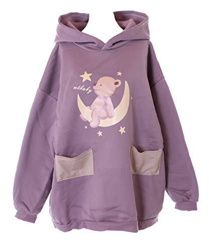 Kawaii-Story TS-283-2 Lila Oversized Teddy Bär Mond Taschen Kapuze Sweatshirt Pullover Pastel Goth