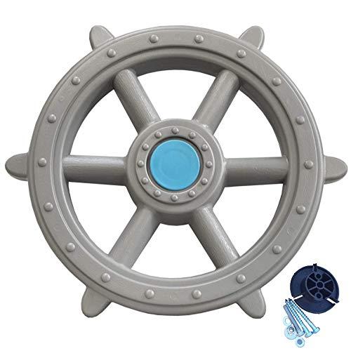 Loggyland Schiffslenkrad Piratenlenkrad Lenkrad Ø 48cm grau - für Kletterturm Spielschiff Spielturm mit Geräuschen Zubehör