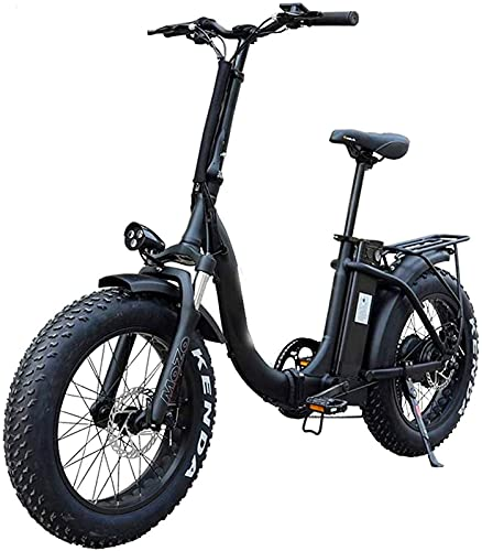 Bicicleta electrica Bicicleta, Bicicleta eléctrica Plegable para Adultos 20in Bicicleta eléctrica de neumáticos de Grasa con removible 10.4Ah Paquete de batería de Iones de Litio 500W Ciudad de Ebike