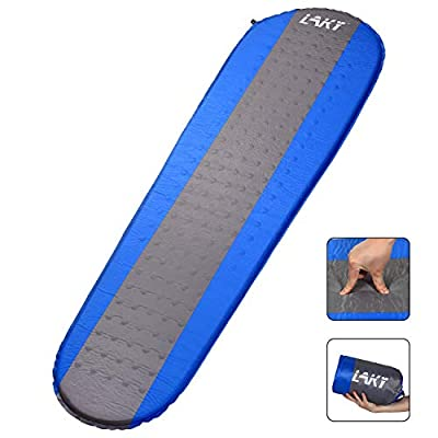 LAKY Self Inflating Sleeping Pad for Camping - 1.5 Inch Camping Foam Pads, Lightweight, Best Foam Sleeping Mats for Backpacking, Hiking, Inflatable Durable Comfortable & Compact Sleeping Mattress
