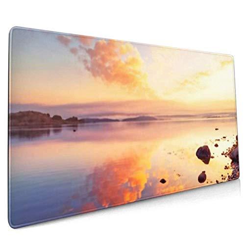 Langes Mauspad (89,9 x 39,9 cm) mit atemberaubendem Sonnenaufgang, Meereslandschaft über Norden, Schreibtischunterlage, Tastaturmatte, rutschfeste Unterseite, wasserabweisend, für Arbeit und Spiel