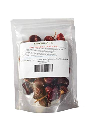 BSD Organics Hot Spicy Round Red Chilli Whole / Milaka / Paprika / Mirch Spice (50 Gram / 1.7 Ounce)