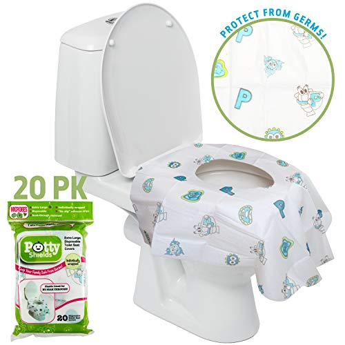 Disposable Toilet Seat Covers for Kids & Adults, 20 Pack - Protect From Public Toilet Germs While Potty Training & More - Extra Large, Waterproof, Portable, Individual Wrapped - Gender Neutral/Unisex
