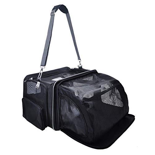 LQPHY Transportín expandible para Mascotas, transportador para Perros y Gatos de Viaje Aprobado por aerolíneas con Alfombrilla de vellón Fácil de Llevar Equipaje con Bolsillos para almacenar merca