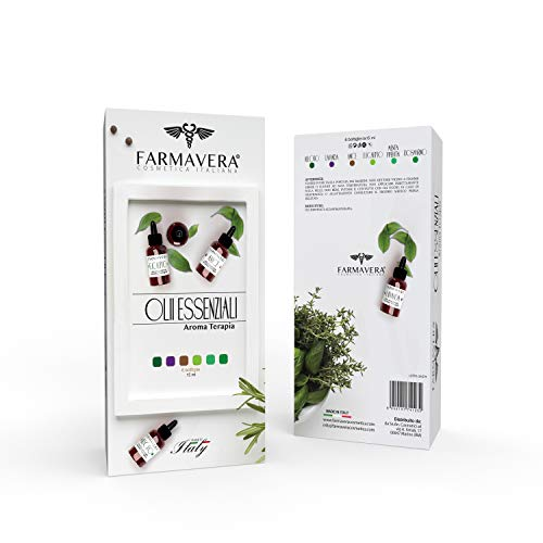 Farmavera Set Oli Essenziali Puri per Diffusori - Essenze per Aromaterapia, 6 x 15ml - Made in Italy