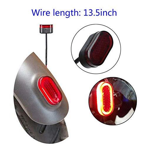 GCDN Luz Trasera, Patinete Eléctrico Faro Trasero, Advertencia de Seguridad, Scooter LED Lámpara con 31cm Cable, Easy Installtion. para Xiaomi Mijia M365 - Rojo, Free Size