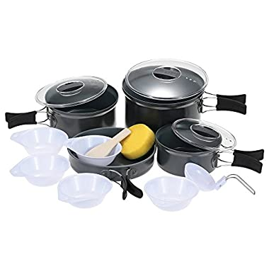 BRS-125 Aluminum 4-5 Person Cookware Pot Set for Cooking Outdoor Camping Picnic