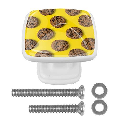 [4 piezas] pomos cuadrados para puerta de armario de color vintage, diseño multidiseño, tiradores de cajón y galletas de chocolate horneadas