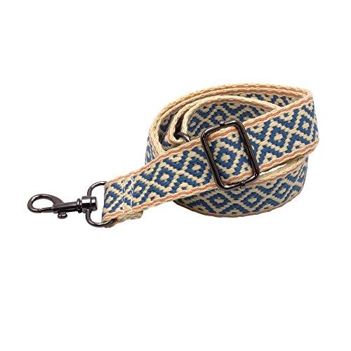 BENAVA Taschengurt Verstellbar - Stilvoller Crossover Schultergurt mit Karo Muster - BOHO Tragegurt - Zubehör für alle Handtaschen 60-120 cm (Schwarz)