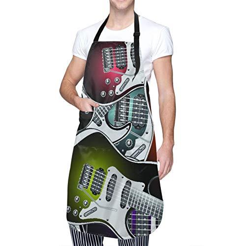 DAHALLAR Ajustable Colgante de Cuello Personalizado Delantal Impermeable,Guitarras electricas,Babero de Cocina Vestido para Hombres Mujeres con 2 Bolsillos Centrales