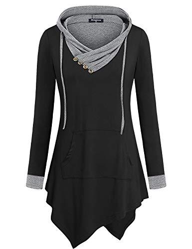 Miagooo Sweatshirts for Women, Winter Tunics Cross V-Neck Long Sleeve Pockets Sweatshirt A Line Asymmetrical Hem Stylish and Versatile Tunic Pullover T Shirt(Large, Black Grey)