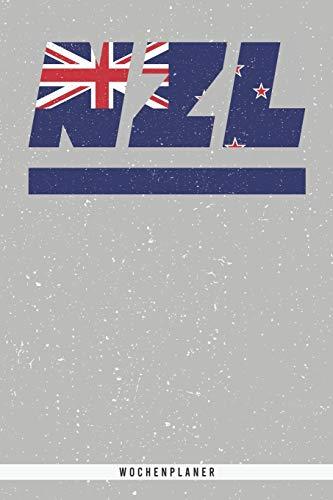 NZL: Neuseeland Wochenplaner mit 106 Seiten in weiß. Organizer auch als Terminkalender, Kalender oder Planer mit der neuseeländischen Flagge verwendbar