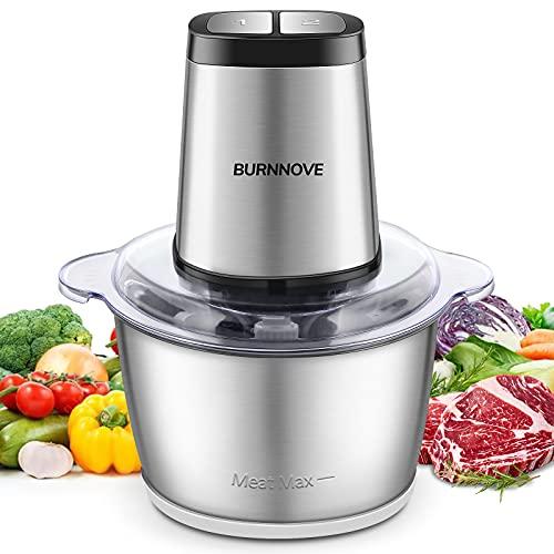 Picadora Electrica de Alimentos, 500W Picadora de Cocina, 4 Bi-Level Cuchillas, 2L Acero Inoxidable Cuenco, Picadora de Carne para Verduras,Carne,Especias