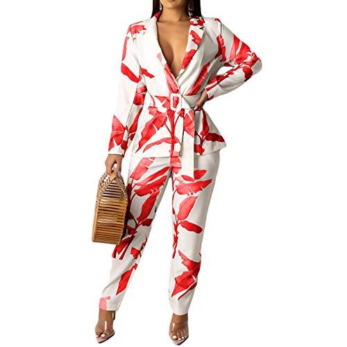 LISUEYNE Women's Two Pieces Blazer Office Lady Suit Set Work Blazer Jacket and Pant Pink