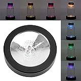 LED Posavasos para Bebidas, Posavasos Vintage para Fiestas, Bodas, Bares y Navidad, Posavasos LED de Color Blanco, Salas de Fiestas (Carcasa negra + Luz RGB)