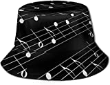 Sombrero de pescador sombrero de pescador de caza, gorros de pesca de moda estilo deportivo al aire libre, rayas blancas y negras corazones-teclas de piano blanco y negro