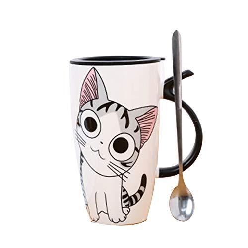 Lindo Personalizado del Gato Taza de café Negro y Animales Modelo Blanco y Tazas de cerámica del Agua de Taza de café con la Cuchara para Regalos de cumpleaños de Navidad favores de Partido 600 ml