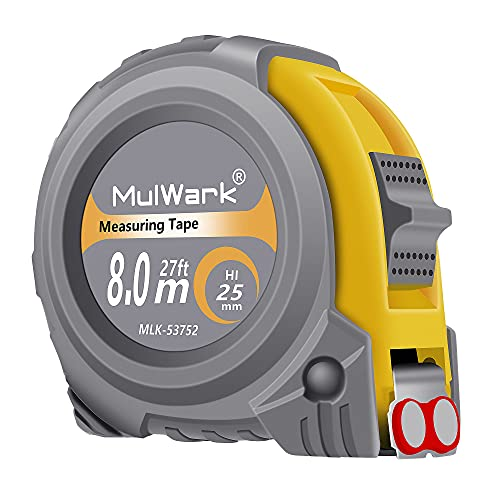 MulWark 26ft Measuring Tape Measure by Imperial Inch Metric Scale with Both-Side Metal Blade,Magnetic Tip Hook and Shock...