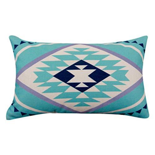 qianbanger Almohada de sofá de Lino de algodón de Alce nórdico, Respaldo Rectangular, 30 * 50 cm, Almohada Lumbar de Oficina, Almohada