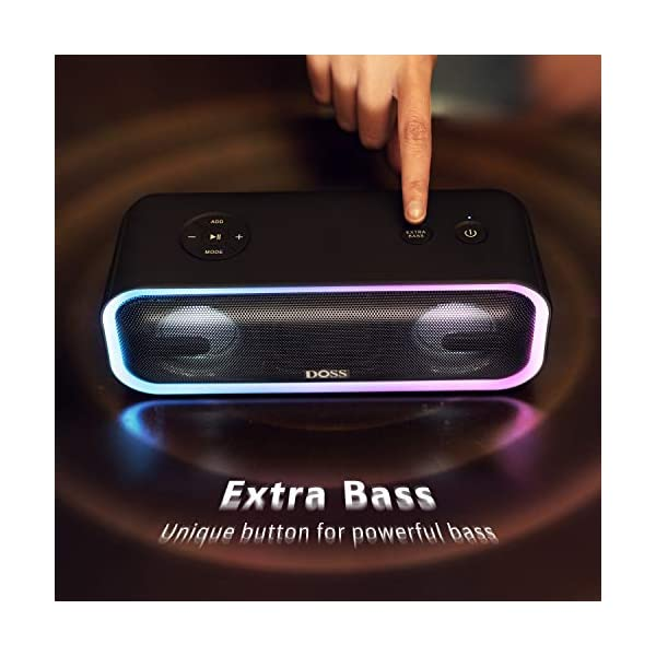 Wireless Bluetooth Speaker with 24W Impressive Sound, Booming Bass, Wireless Stereo Paring, Mixed Colors Lights, IPX5 Waterproof, 15 Hrs Battery Life, 66 ft Bluetooth Range 5