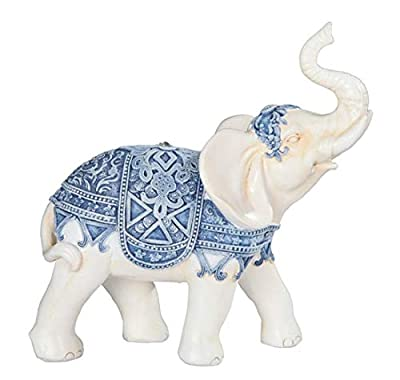 "George S. Chen Imports 7888223 Blue/White Thai Elephant 6"" high Home Decor Statue Figurine"