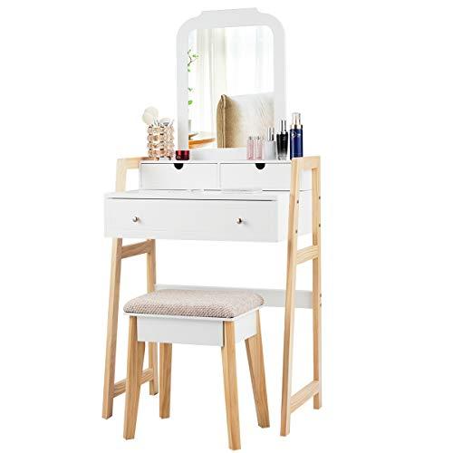 COSTWAY Schminktisch mit gepolstertem Hocker, Frisiertisch Set mit Kiefernbeinen, Make-up Tisch mit 3 Schubladen, Frisierkommode weiß, Kosmetiktisch mit einstellbarem Spiegel